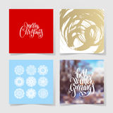 Set of christmas decoration background, snowflake and handwritten Royalty Free Stock Photos