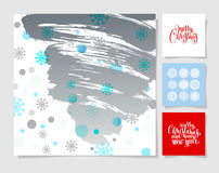Set of christmas decoration background, snowflake and handwritten Stock Photos