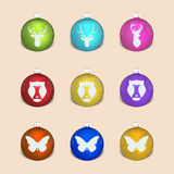Set of christmas decoration ball with monkey, deer, butterfly.  stock illustration
