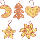 Set of Christmas decoration for christmas tree - golden star,. Set of Christmas decoration for christmas tree - golden star, moon, sun, heart and christmas Stock Images