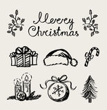 A set of Christmas decoration elements, handwriting Royalty Free Stock Photography