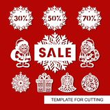 Set of christmas decoration for shop and markers - Santa Claus, bell, gift, snowflake,ball and signboard -`Sale`. royalty free illustration