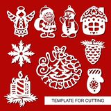 Set of christmas Decoration - silhouettes of Angel, Santa Claus, Snowman, house, candles, snowflake, pine cone. Template for laser cutting, wood carving, paper Royalty Free Stock Photo
