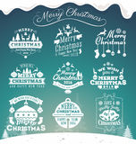 Set of Christmas decoration typography tag and label design. Royalty Free Stock Photo