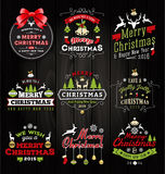 Set of Christmas decoration typography tag and label. Design. Merry Christmas and happy new year 2016. Vector illustration royalty free illustration