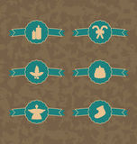 Set Christmas decoration vintage emblems, all for  Royalty Free Stock Photo