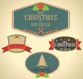 Set of Christmas decoration and vintage new year labels Stock Images