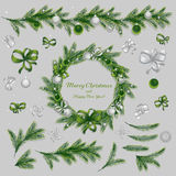 Set of christmas decorationsю Green and silver colors. Royalty Free Stock Image