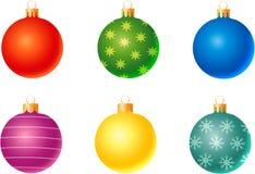 Set of christmas decorations. Six decoration balls for christmas tree Stock Photos