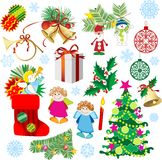 Set_of_Christmas_decorations Stock Images