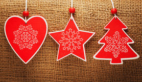 Set of christmas decorations on a burlap Royalty Free Stock Photos