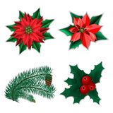 Set of Christmas decorations stock illustration