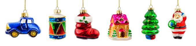 Set of christmas decorations. Isolated on white background stock photography