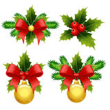 Set of Christmas decorations. From pine twigs and holly vector illustration