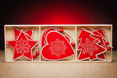 Set of Christmas decorations on a red background Stock Photos
