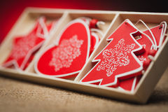 Set of Christmas decorations on a red background Royalty Free Stock Photography