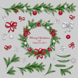 Set of christmas decorations. Red and silver colors. Set of christmas decorations: balls, ribbons, stars and abstract elements. Christmas wreath. Christmas pine Royalty Free Stock Photography