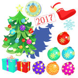 Set of Christmas decorations, toys, balls, Christmas tree, clock Stock Photo