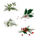 Set of Christmas decorations. Vector illustration Royalty Free Stock Photo