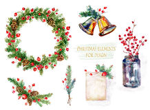 Set of Christmas decorations. Watercolor illustration. Royalty Free Stock Images