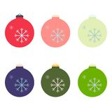 A set of Christmas decorative balls in the style of flat. Vector graphics. royalty free stock photography
