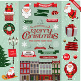 Set of Christmas decorative design elements Stock Photos