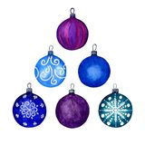 Set of Christmas decorative elements, blue and purple balls. Separate elements on a white background. Watercolour hand illustratio. N. Perfect for decorating royalty free illustration