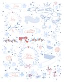 Set of Christmas and decorative elements. Vector Royalty Free Stock Photos
