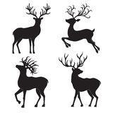 Set  of  Christmas  deer  silhouettes  on the white background. Royalty Free Stock Photo