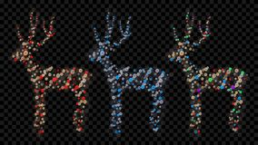 Set of Christmas deers. Made of defocused multicolored fairy lights with bokeh effects Royalty Free Stock Photography