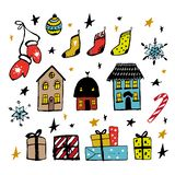 Set of Christmas design doodle elements. Vector hand drawn . Isolated objects. Gloves, houses, snowflakes, gifts, socks royalty free illustration