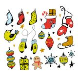 Set of Christmas design doodle elements. Vector hand drawn . Isolated objects. Gloves, houses, snowflakes, gifts, socks vector illustration