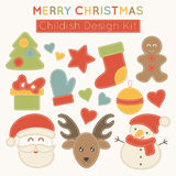 Set of Christmas design elements for babies. Royalty Free Stock Photos