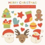 Set of Christmas design elements for babies. royalty free illustration