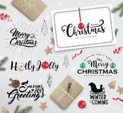 Set of Christmas design elements. Set of Christmas typography, design elements, gift tags, gift box, fir branches, pine cone, Christmas balls, ribbons and Stock Image