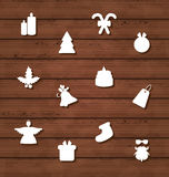 Set Christmas design elements on wooden texture Royalty Free Stock Photo