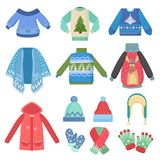 Set of christmas design warm winter clothes. Scarf, winter hat, coat and hats, jacket and gloves. Winter fashion vector. Illustration Stock Photography