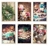 Set Christmas Different Cards Retro Photo Frame Stock Image