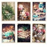 Set Christmas Different Cards Retro Photo Frame. Set Christmas Different Cards Drawn Snowfall Retro Photo Frame Isolated on White Stock Image
