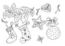 Set of Christmas doodle stock illustration