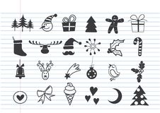 Set of Christmas doodle element. On lined notebook paper,Hand drawn Royalty Free Stock Images