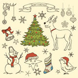 Set of Christmas doodle elements Royalty Free Stock Photos