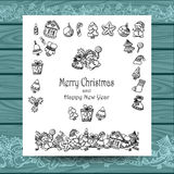 Set Christmas doodle elements   on white with blue wood Stock Images