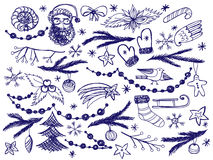 Set of Christmas doodle objects Royalty Free Stock Image