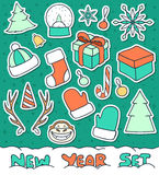 Set 20 Christmas doodle sketch objects for compositions, design Stock Images
