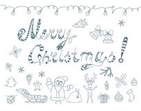 Set of Christmas Doodles Elements. Royalty Free Stock Photo