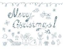 Set of Christmas Doodles Elements. Royalty Free Stock Photo