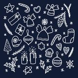 Set of Christmas doodles. Vector illustration. Royalty Free Stock Photos