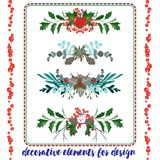 Set of Christmas elements borders. Set of Christmas vintage decorative floral elements borders. For design of invitation on Christmas and New Year Stock Photo