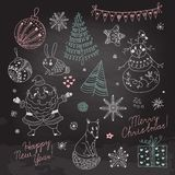 Set of Christmas elements for design Stock Photos